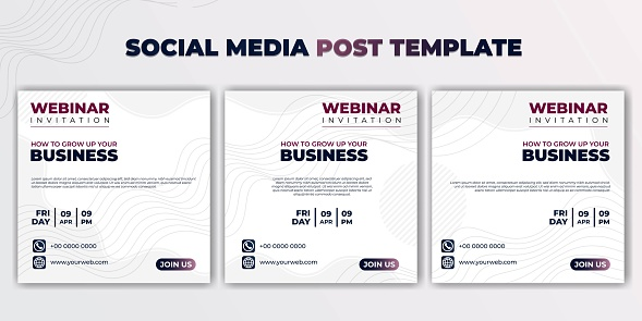 Social media post template vector illustration. set of social media template with white background design