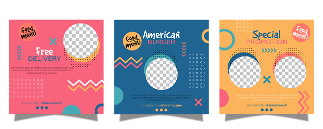 Social media posts collection for american food with burger template