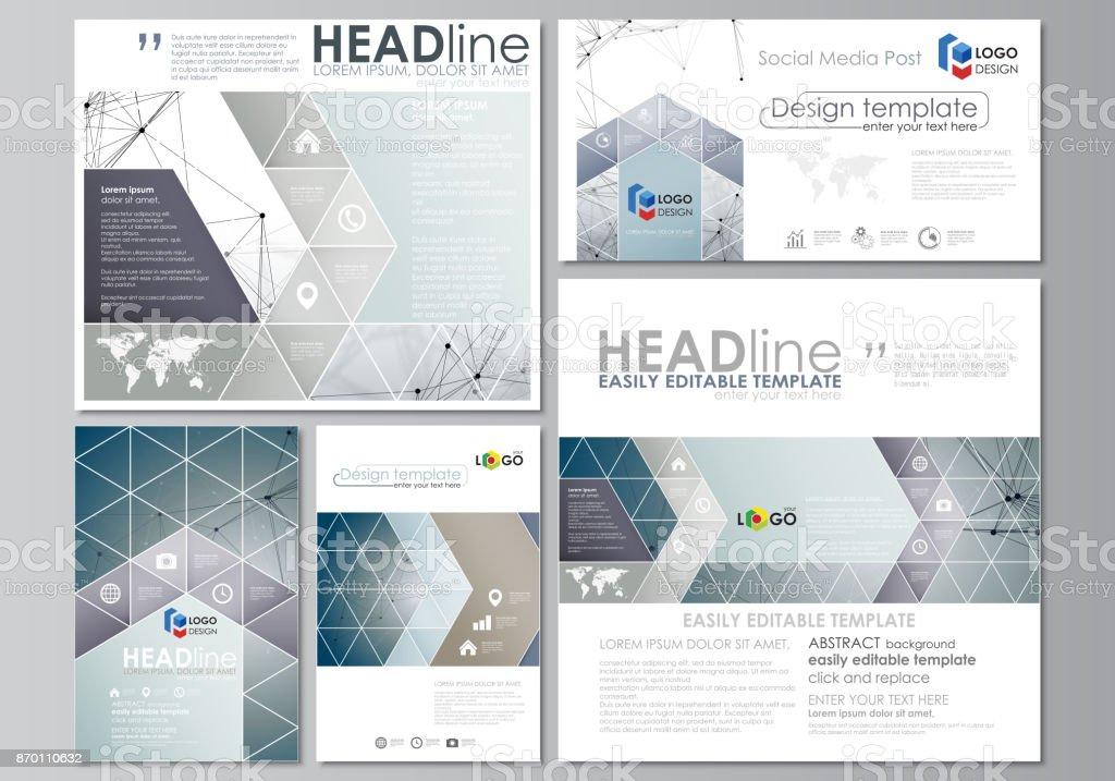 social media posts set abstract flat design templates vector layouts