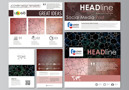 Social media posts set. Business design templates. Vector layouts in popular formats. Chemistry pattern, molecular texture, polygonal molecule structure, cell. Medicine, science, microbiology concept