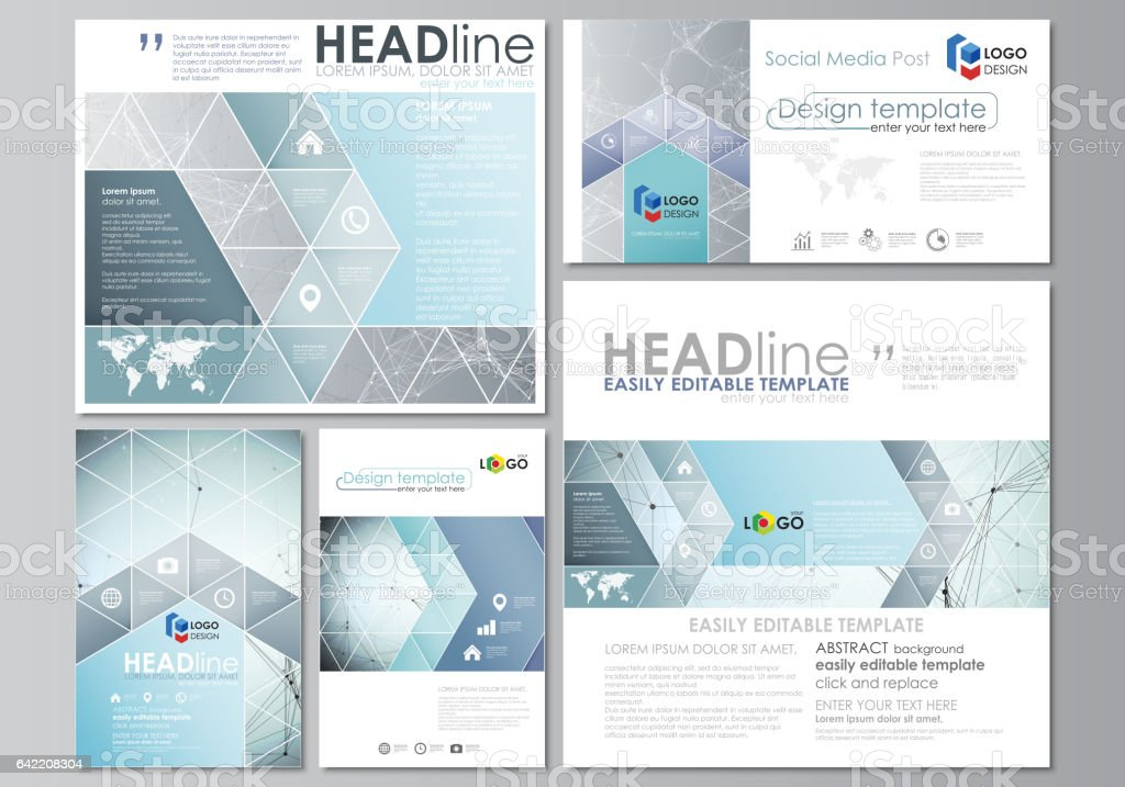 social media posts set business templates abstract design template