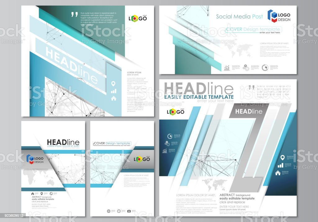 Social media posts set business templates abstract design template business templates abstract design template vector layouts in popular accmission Choice Image