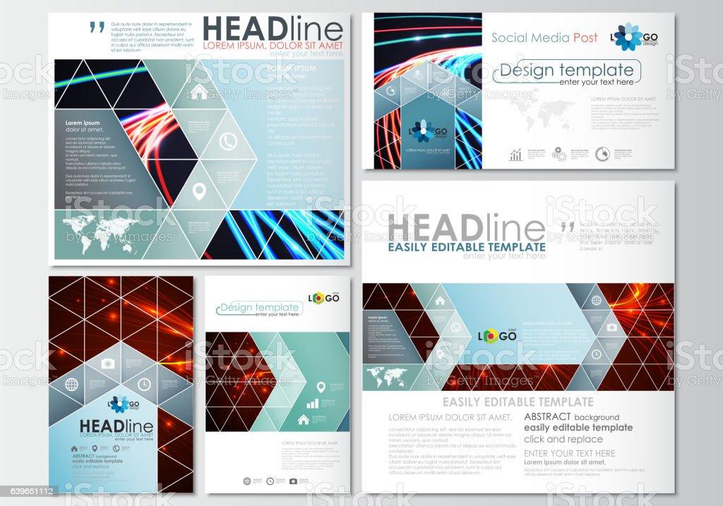 Social media posts set. Business templates. Cover design template,...