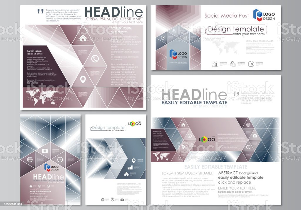 Social media posts set. Business templates. Easy editable flat design template, vector layouts in popular formats. Simple monochrome geometric pattern. Abstract polygonal style, modern background - Grafika wektorowa royalty-free (Abstrakcja)