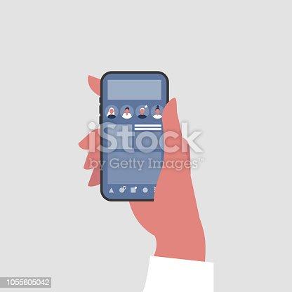 Social media profile. Hand holding a smartphone. Millennial lifestyle. Communication technologies. Flat editable vector illustration, clip art