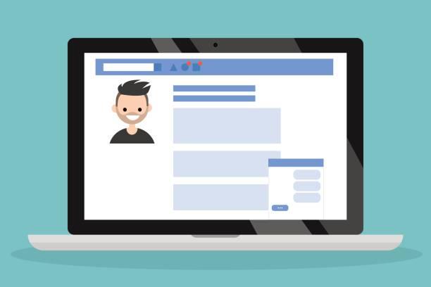 Social media profile page vector art illustration