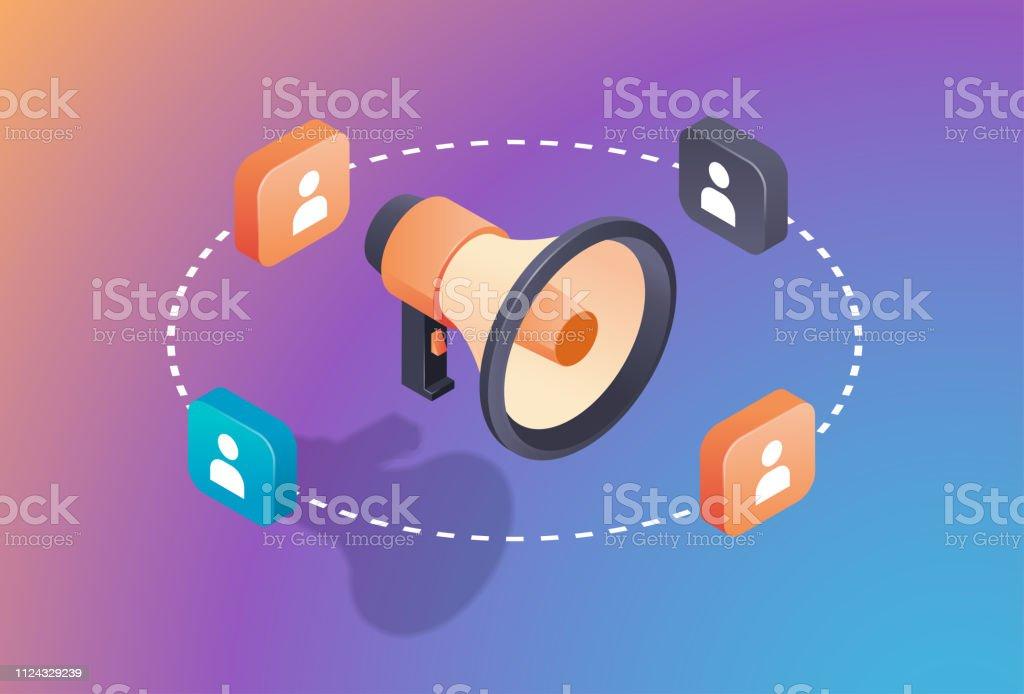Social Media Promotion Digital Marketing Concept Loudspeaker