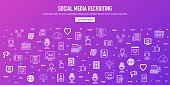 Social media recruiting outline style web banner design with memphis decorations. Line vector icons for infographics, mobile and web designs.