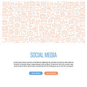 istock Social Media Related Banner Design with Pattern. Modern Line Style Icons Vector Illustration 1283579842