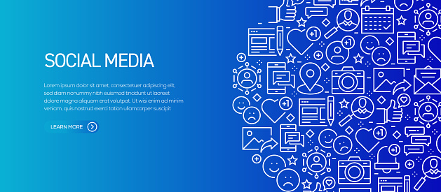 Social Media Related Banner Template with Line Icons. Modern vector illustration for Advertisement, Header, Website.