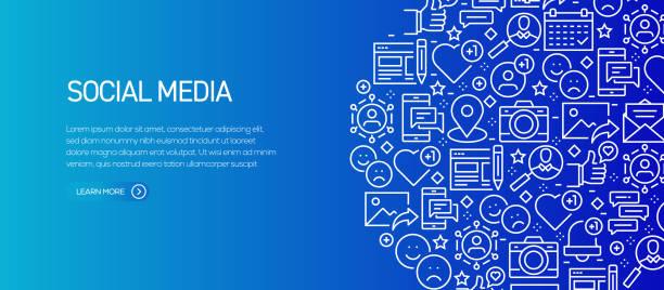 bildbanksillustrationer, clip art samt tecknat material och ikoner med sociala medier relaterade banner mall med linje ikoner. modern vektor illustration för annonsering, header, hem sida. - social media