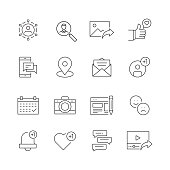 Social Media Related - Set of Thin Line Vector Icons