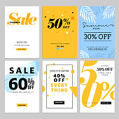 Social media sale banners and ads web template collection