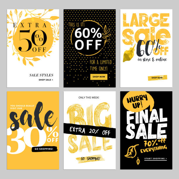 social media sale banners, and ads web template set - email templates stock illustrations