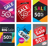 Social media sale banners and ads web template set. Vector illustrations for website and mobile banners, posters, email and newsletter designs, ads, coupons, promotional.