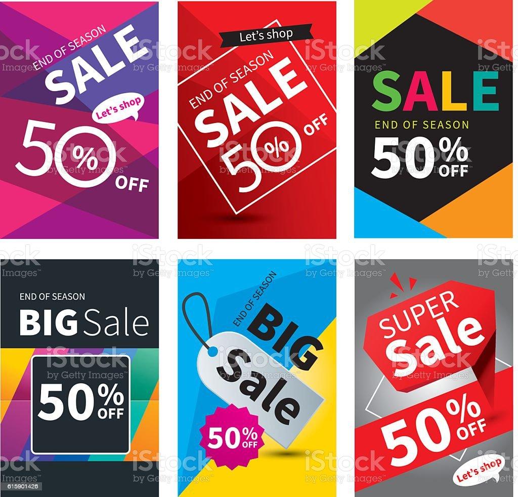 Social media sale banners and ads web template set. - ilustração de arte em vetor