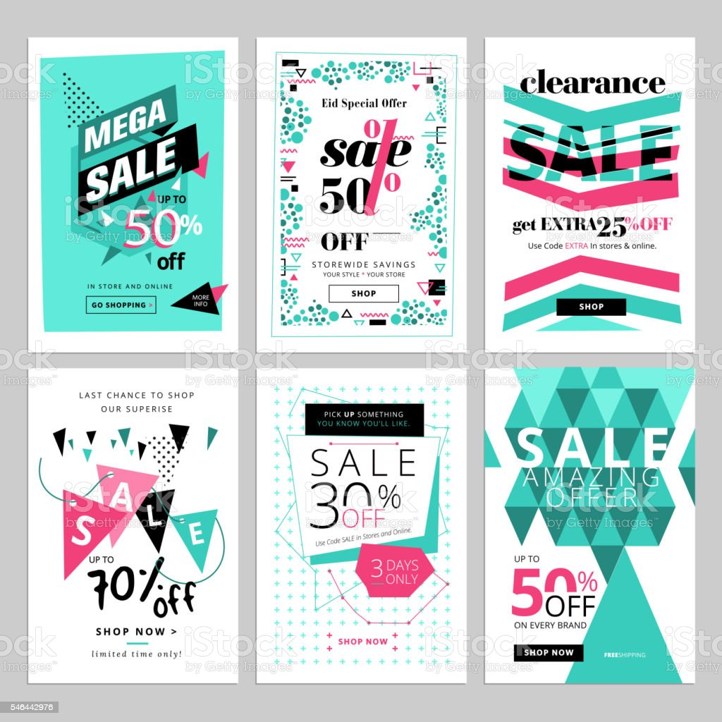 Social media sale banners collection vector art illustration