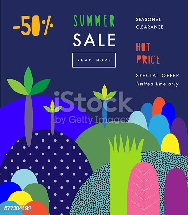 Social Media Sale header or banner with discount offer. Design for seasonal clearance. It can be used in advertising, web design, graphic design. Vector illustration.