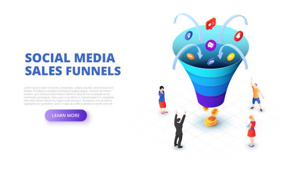 ilustraciones, imágenes clip art, dibujos animados e iconos de stock de ventas redes sociales embudo de concepción con la gente. ilustración de vector isométrica. plantilla de página de aterrizaje para web. - infografías de redes sociales