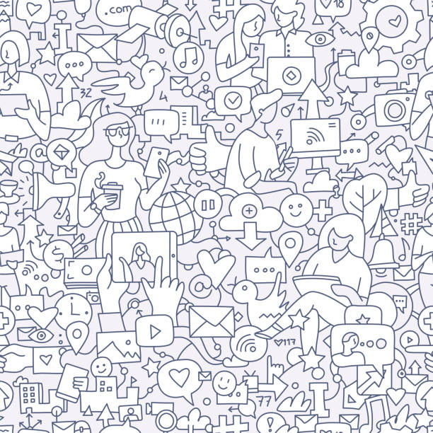 illustrazioni stock, clip art, cartoni animati e icone di tendenza di social media seamless doodle pattern - social media
