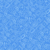 Social media seamless pattern with thin line icons: of thumbs up, share, link, send e-mail, music, stream, comments. Vector illustration for banner, web page, print media.