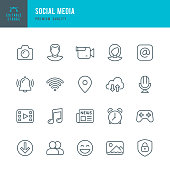 Set of Social Media thin line vector icons.