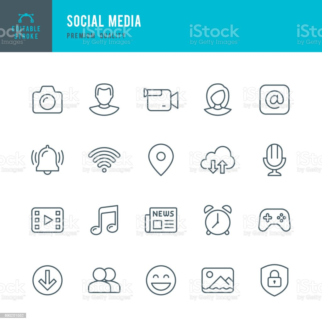 Social Media - set of thin line vector icons vector art illustration