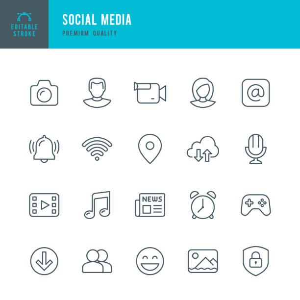 Médias sociaux - set d'icônes vectorielles fine ligne - Illustration vectorielle