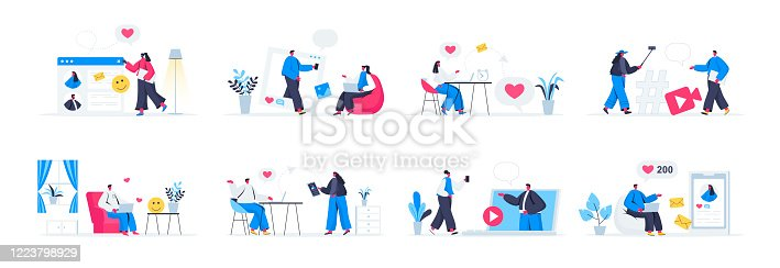 Social media set with people characters in various situations. People sending posts, emails, photos and sharing video content in social media. Bundle of blogging and online communication in flat style