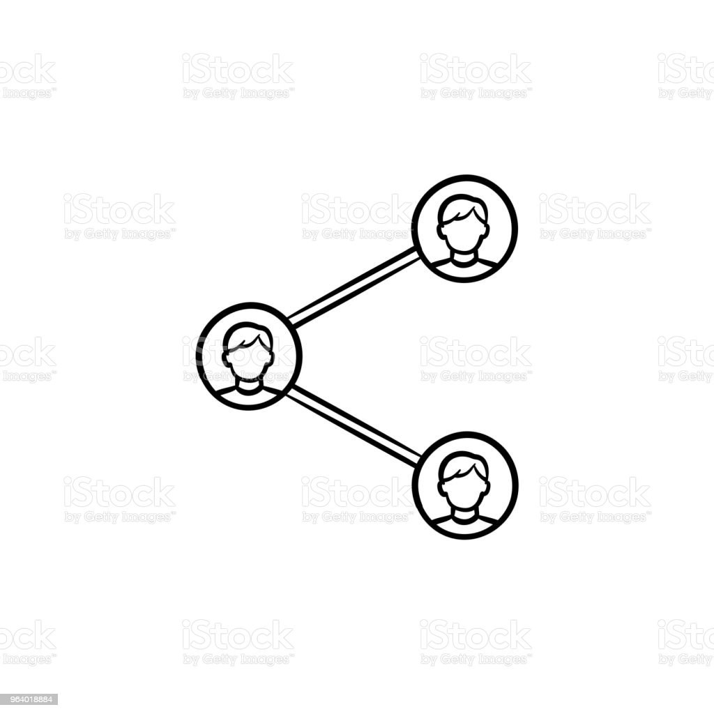 Social media sharing hand drawn outline doodle icon - Royalty-free Blogging stock vector