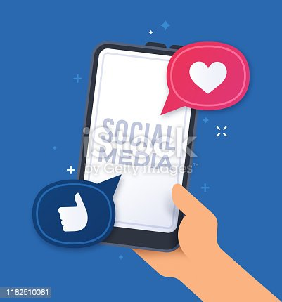 Social media handheld smart phone concept.