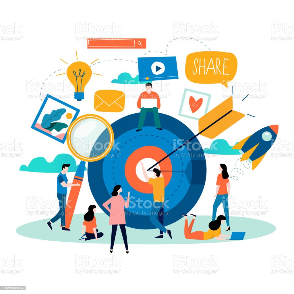 Social media, social networking, online community vector art illustration