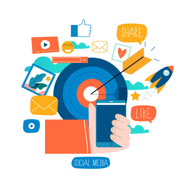 Social media, social networking, video and photo sharing vector art illustration