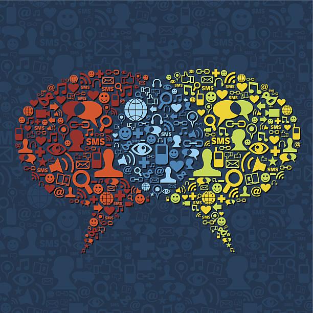 stockillustraties, clipart, cartoons en iconen met social media speech bubble interaction - dubbelopname businessman