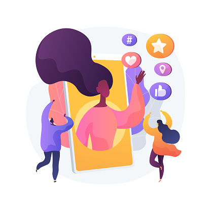 Social media star abstract concept vector illustration. Influencer, social media reach and engagement, celebrity account monetization, personal blog, star content creation abstract metaphor.