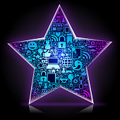 A social media star made of communication symbols, that reflects the connection between people.