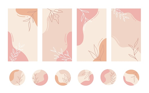Social media stories and highlights templates. Vector set of pastel color minimal abstract organic floral backgrounds