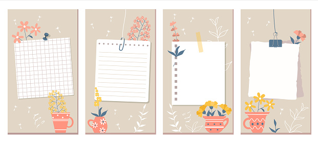 Social Media Stories Layout Set. Flowers, pink mugs and contours of plants on a beige background. White pages of different notebooks pinned or taped to the wall.