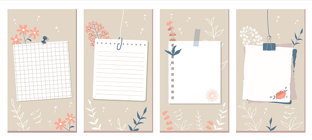 Social Media Stories Layout Set. Pink flowers, contours of flowers and leaves. White pages of different notebooks pinned or taped to the wall.