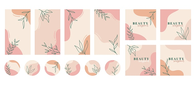 Social media stories, posts, highlights templates. Abstract floral trendy vector backgrounds with copy space for text