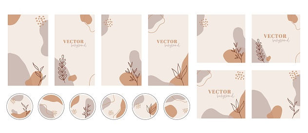 Social media stories, posts, highlights templates. Abstract organic shapes trendy vector backgrounds. Instgram set