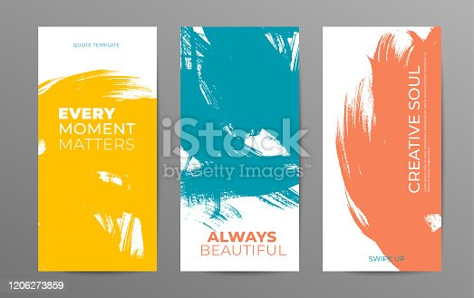 Social media stories vector template. Grunge color brush stroke background with quotes and place for text. Editable grunge shape. Trendy template for social networks stories, vector ink illustration.