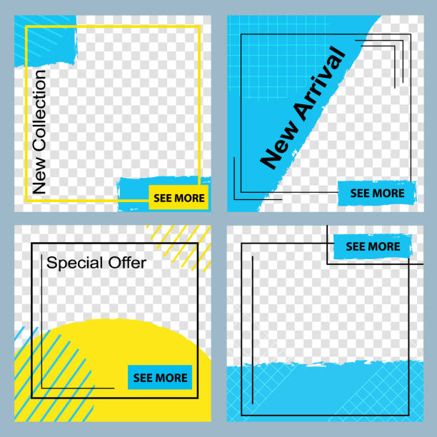 Social Media Story Set Giving More Fashion Info Social Media Story Template for Giving Special Information, Offers. Banner Inviting Vector Illustration. Frame Stories Mobile Interface, Landing Page in Minimalistic Geometric Design business borders stock illustrations