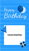 social media story template greeting happy birthday in blue