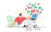 istock Social media symbols and digital addiction for joyful time spending 1329520182