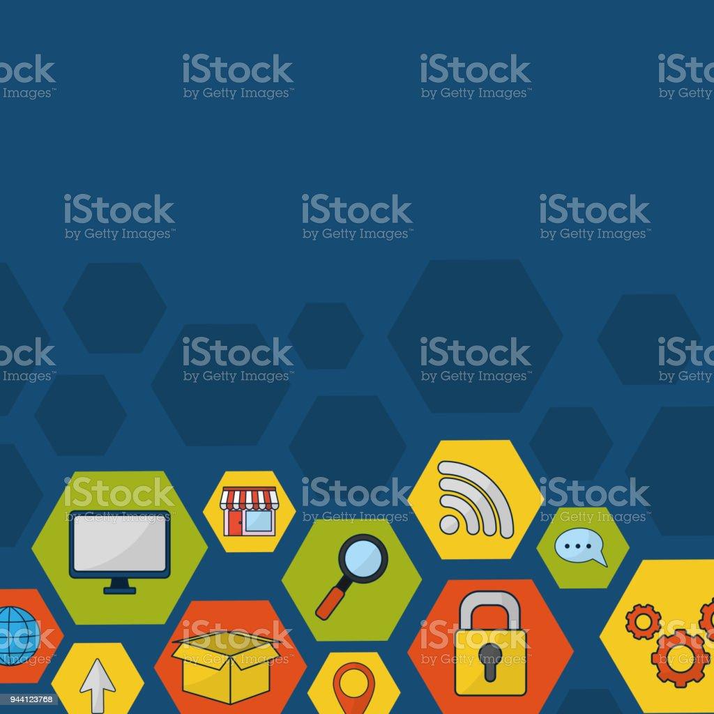 Social media technology vector art illustration