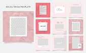 social media template banner blog fashion sale promotion. fully editable instagram and facebook square post frame puzzle organic sale poster. red pink white vector background