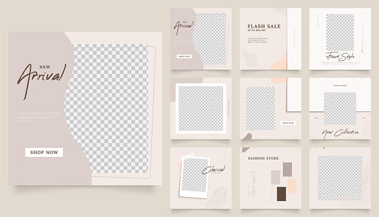 social media template banner fashion sale promotion. fully editable instagram and facebook square post frame puzzle organic sale poster. warm brown vector background.