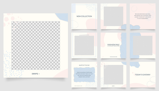 social media template banner fashion sale promotion. fully editable instagram and facebook square post frame puzzle organic sale poster. blue pink vector background