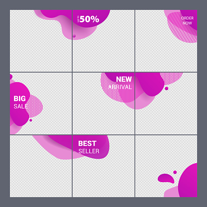 Social media template. Set with purple liquid abstract design for stories, Square badge of liquid design. Social media pack template for discount and special offer.Vector illustration